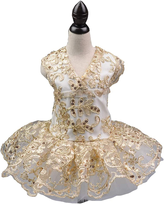 Sequins Lace Embroidered Dog Dress Puppy Tutu Dress Skirt Tutu Skirt Flower Dog Pet Cat,gold,XS