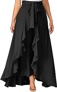SBJ COLLECTIONS Women's Ruffle Pants Split High Waist Maxi Long Crepe Palazzo Overlay Pant Skirt