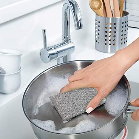 Metallic Scrubs Gold and Silver Kitchen Sponge Scrubber, Sink, Pot, Dish  Wash Sponges Non Scratch, Kosher for Passover : Health & Household -  Amazon.com