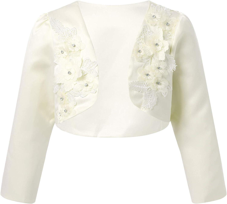JEEYJOO Kids Flower Girls Wedding Dress Cover Up Cropped Short Cardigan Floral Long Sleeves Princess Bolero Shrug