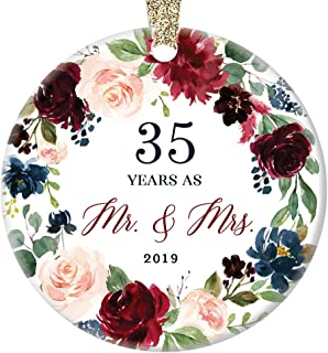 35th Wedding Anniversary 2019 Christmas Ornament Gift Husband & Wife Married 35 Thirty-Five Years Pretty Ceramic Holiday Keepsake Tree Decoration Present Porcelain 3