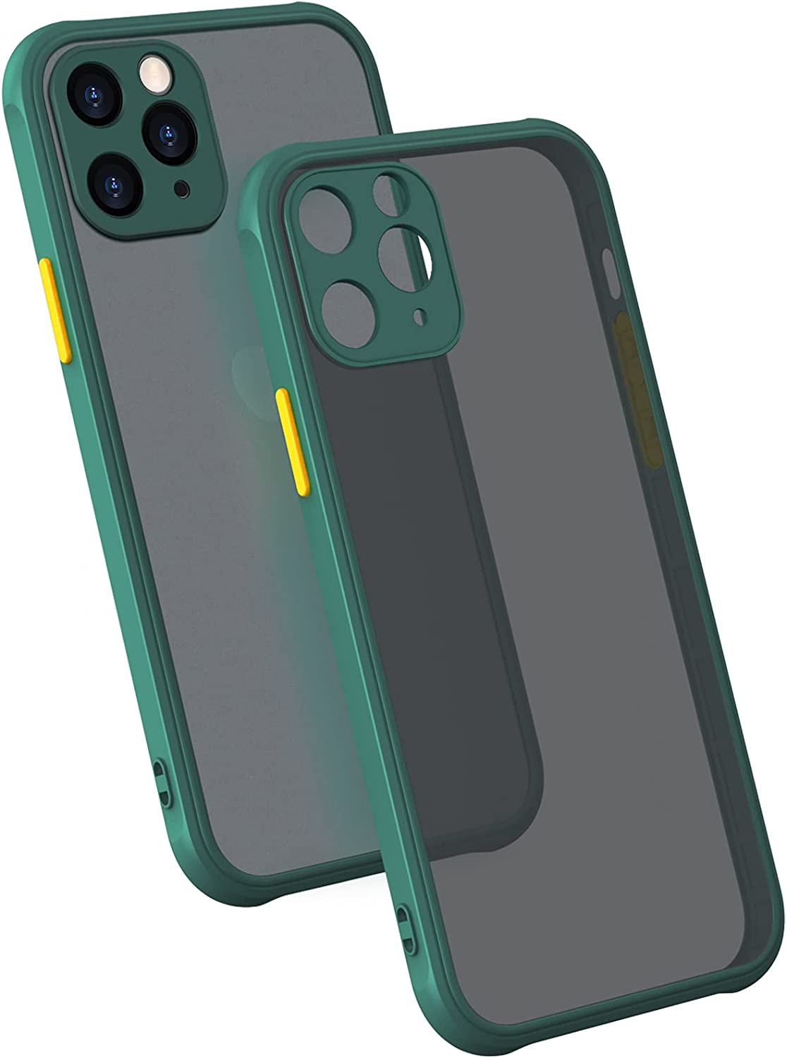 MONGKEYA iPhone 11 Pro Max Case, 6.5 inch, Translucent Matte Hard PC Back with Soft Silicone Edge, Slim Shockproof, Drop Protective Phone case for iPhone 11 Pro Max, Midnight Green