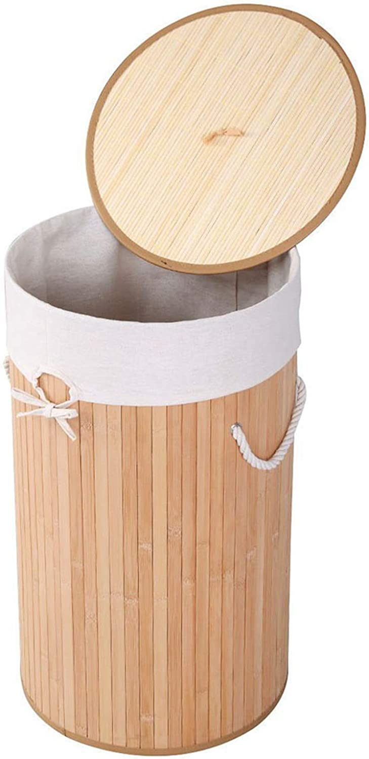 DOLMER Houston Mall Barrel Type Bamboo Folding Basket Excellent Body Wood Cover with Co