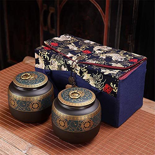 Fantastic Deal! Tea Canister Set of 2 Chinese Ceramics Tea Canister 850ml Traditional Tea Caddy with Gift Box for Tea Coffee Sugar Storage, Loose Leaf Tea (Color : Blue, Size : 850ml)