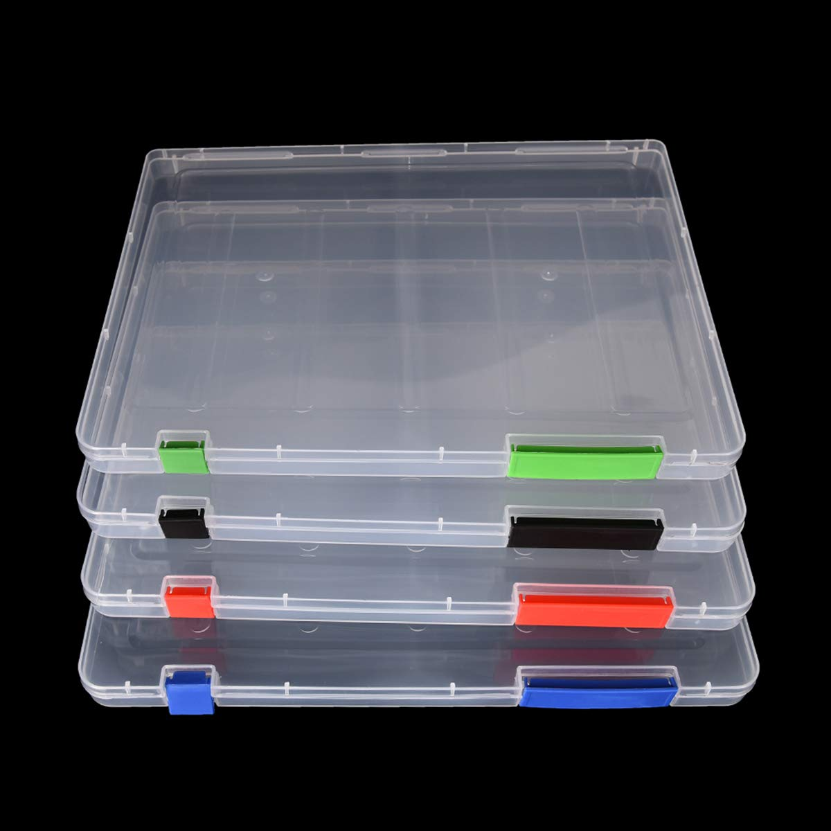 4 piezas Carpeta plástica A4 caja de archivo organizadores cajas de caja de almacenamiento Caja de cajas de archivo de plástico transparente, fuentes de oficina, portadocumentos (31 * 23 * 2cm): Amazon.es: Oficina y papelería