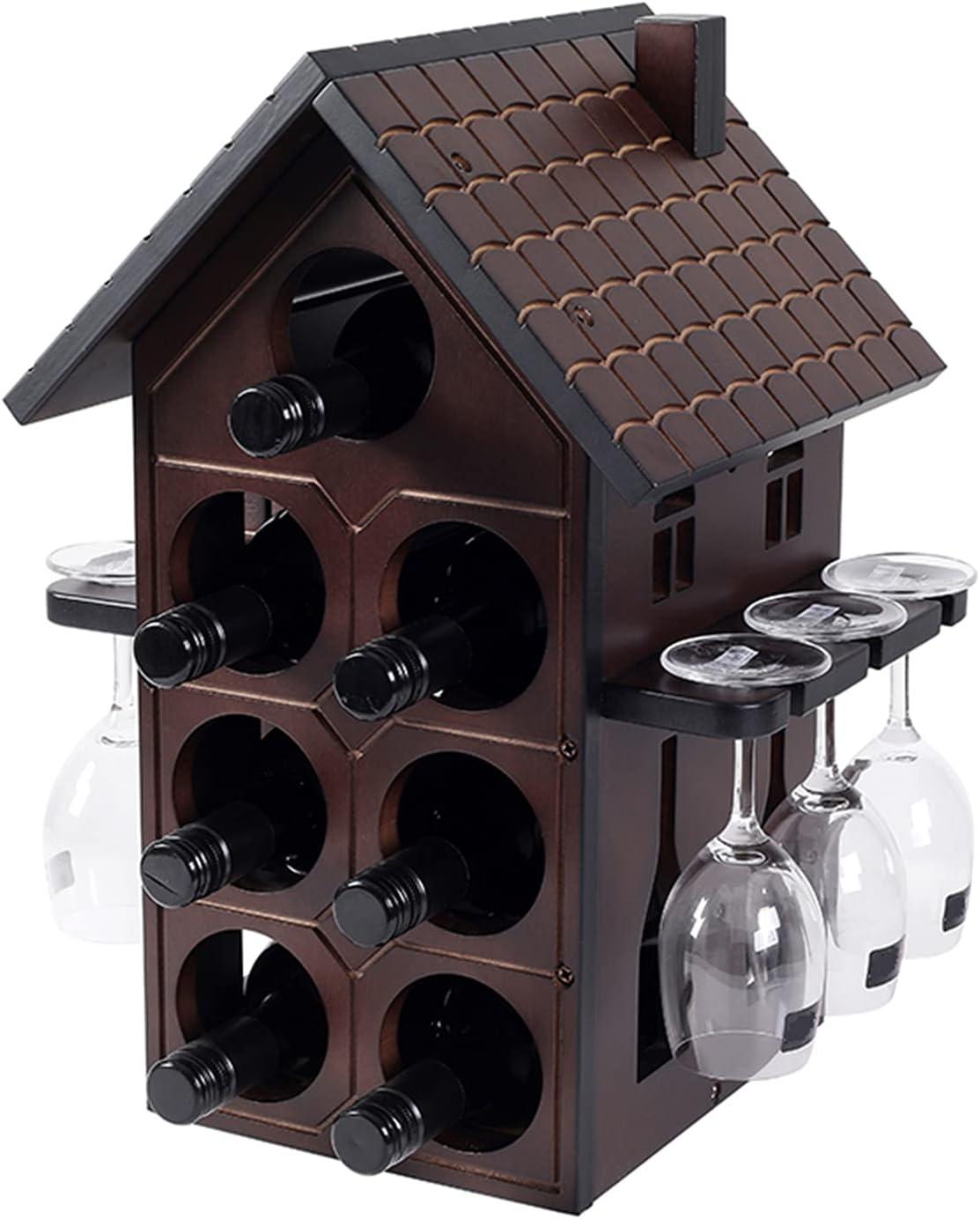 Stylish Elegant Attic Shape Wine Rack 100% quality warranty Superior Dark Wood Solid H Red