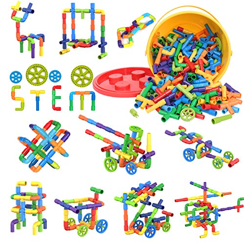 250 Pieces STEM Building Blocks, Pipe Tube Sensory Toys, Creative Tube...