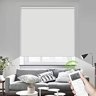 Motorized Blinds Remote Control Window Roller Shade Wireless Rechargeable 100% Blackout Window Shades for Office and Home (White)