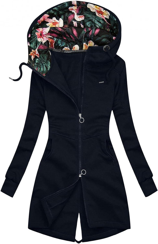 ManxiVoo Women Full Zip Floral Hooded Hoodie Jacket Back Split Hem Zipper Sweatshirt Coat with Pockets