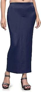 تنورة داخلية من نسيج الساري الدقيق للنساء، فستان من القطن الممزوج الشكل للارتداء للساري (أزرق داكن) ملابس داخلية