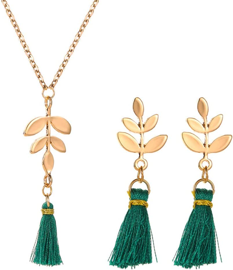 Cngstar Leaf Long Tassel Necklace Bohemian Earrings Statement Jewelry Sets with Long Adjustable Chain