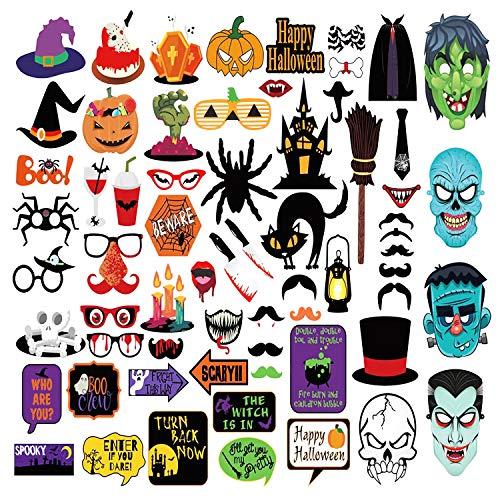 Tusenpy 66 Piezas HalloweenDecoracion,HalloweenPhotocall Fiesta Deco Atrezzo,Halloween Photo Booth Props Kit (Serie 1)