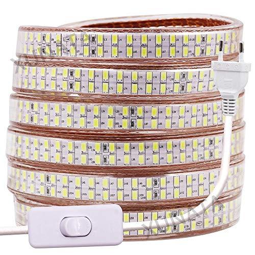 LMIAOM Tira de LED de doble hilera 220V 5730 de alta luminosidad regulable LED luz de tira 240Leds impermeables/m llevada flexible de la cinta con control remoto Nueva barra de luz LED