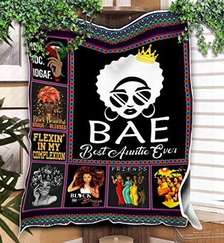 Bae Best Auntie Ever Blanket Print Super Soft and Warm All Season Throw Blanket for Sofa, Bed, Outdoor, Hotel and Home