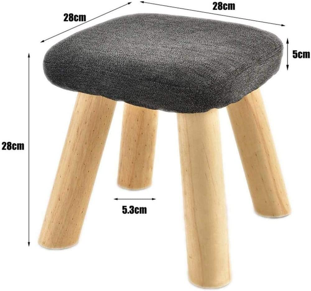 A/N Tabouret Carré Multiusages Tabouret Pouf- Change Shoe Repose-Pieds Tabouret De Chaise De Production en Bois Massif-Marron Noir