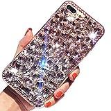 LCHDA für iPhone 11 Diamant Hülle, Bling Glitzern Strass Glänzend Handyhülle Durchsichtig Klarer Kristall Steine Harte Schale Flexibel Silikon Stoßstange Schutzhülle - Weiß Rosa