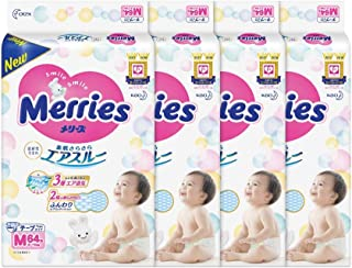 Merries Tape Diapers M, 64ct, (Pack of 4)