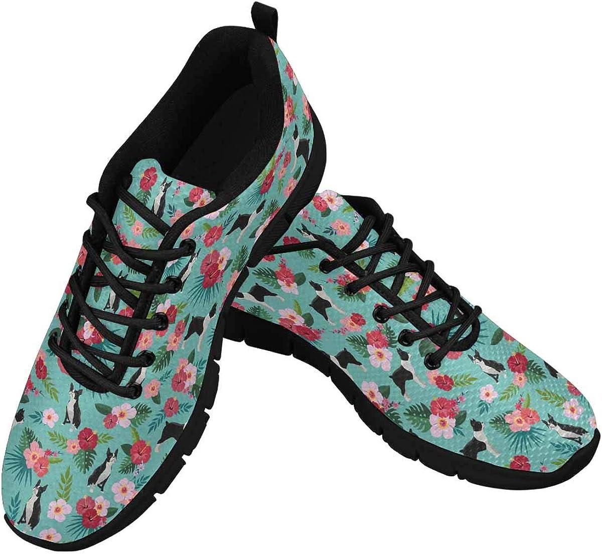 InterestPrint Boston Terrier Floral Dress Women's Athletic Walking Shoes Casual Mesh Comfortable Work Sneakers