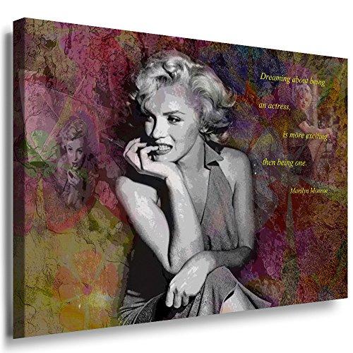 Julia-Art Leinwandbilder - Marilyn Monroe Hollywood Legend Bild 1 teilig - 40 mal 30 cm Leinwand auf Rahmen - sofort aufhängbar Wandbild XXL - Kunstdrucke QN169-1