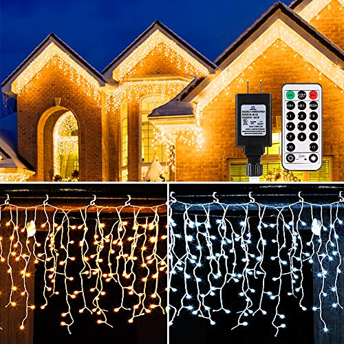 Icicle Lights Outdoor, B-right 440 Led Icicle Christmas Lights Warm White&Cool 11Modes Dimmable 2-in-1 with Remote Timer for Outdoor Eaves Garden Indoor Wedding Party Decor(29.5ft 29V)