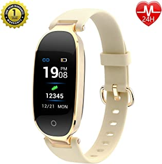 MVYNO Majix.Fit S3 Beautiful Smartwatch for Women & Girls with Activity Tracker & Step/Calorie Counter (Gold)