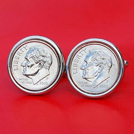 US 2009 Roosevelt Dime Gem BU Uncirculated 10 Cent Coin Cufflinks NEW