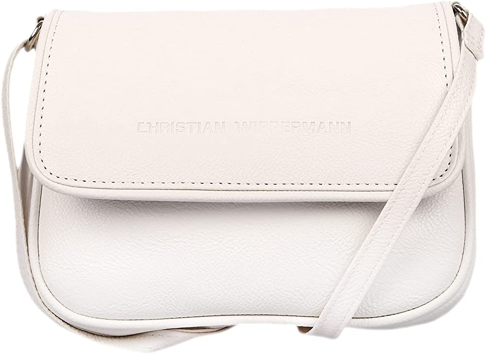 Christian wippermann borsa a spalla per donna in pelle sintetica bianca