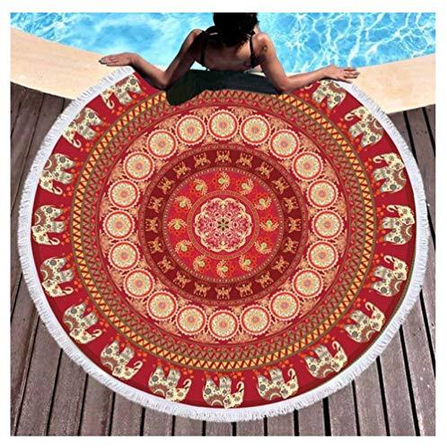 Vanzelu strandlaken rond Boemo badhanddoek kleurrijk met matras 150 cm microvezel met kleurwol