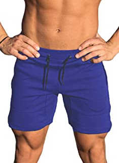 Ouber Men's Gym Workout Shorts Weightlifting Squatting Short Fitted Jogging Pants with Zipper Pocket