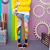 bayrick Nalgas de melocotón Sexy,Sección Delgada Moda Color Imprimir Pantalones Yoga Pantalones Elásticos Tight Silk Seda Nueve Puntos-18_45-70kg