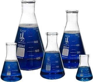 فلاسک شیشه ای 5 عدد مجموعه ای، Erlenmeyer دهان باریک، Borosilicate 3.3 Glass - 50ml، 150ml، 250ml، 500ml، 1L، Karter Scientific 213B2