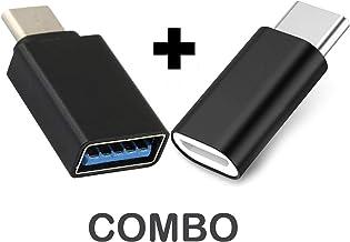 ShopsGeniune Type-C to Micro USB Adapter + Type-C OTG Adapter for ZTE Axon M, ZteAxonM, ZteAxon M, Zte AxonM Type C Male t...