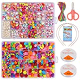 Queta cuentas para enhebrar juego de joyas pulsera bricolaje para niñas niños juego de manualidades de joyería (multicolor)