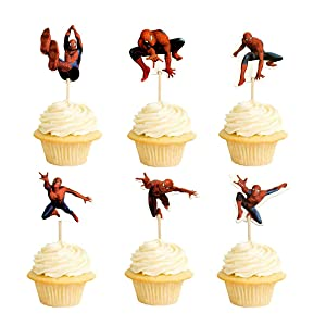 48PCS Spiderman Cupcake Toppers for Kids Birthday Party Cake Decoration