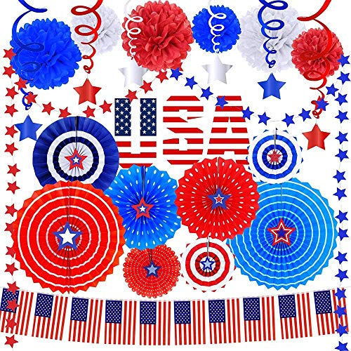 Bulk 4th of July Patriotic Party Decorations Kit – Includes Red White Blue Hanging Paper Fans Party Patriotic Garland Streamers American Flags Banner String Star Hanging Swirl Tissue Paper Pom Poms
