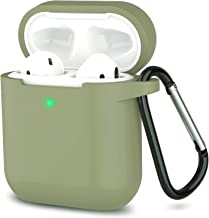 AirPods Case, Full Protective Silicone AirPods Accessories Cover Compatible with Apple AirPods 1&2 Wireless and Wired Charging Case(Front LED Visible),Army Green