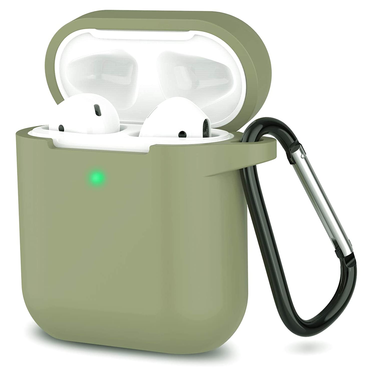 Newest 2019 AirPods Case,Full Protective Silicone AirPods Accessories Cover Compatiable with Apple AirPods Wireless Charging Case[Front LED Visible]-Army Green