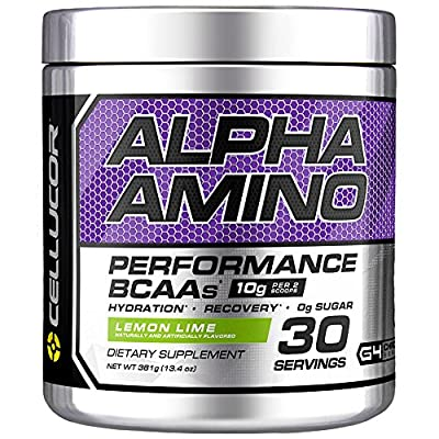 Cellucor Alpha Amino EAA & BCAA Powder   Branched Chain Essential Amino Acids + Electrolytes   Lemon Lime   30 Servings