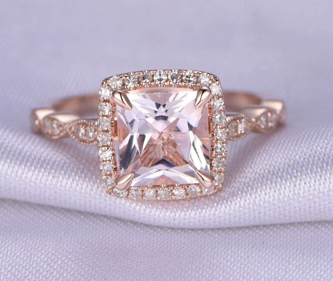 Antique Design 1.25 Carat Peach Engagement Luxury 2021 model goods Pink w Morganite Ring