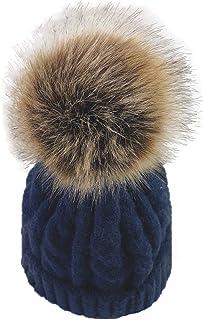 ba knife Kids/Adult Knitted Cozy Warm Winter Snowboarding Ski Hat with Faux Fur Pom Pom Slouchy Beanie Bobble Cute Skull Hat