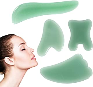 Gua Sha Massage Tool for Massage Therapy, 4 Pcs Natural Jade Gua Sha Stone Scraping Massage Sets for SPA Pain Relief, Phys...
