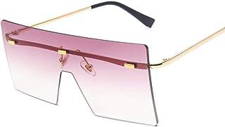 NJJX - Gafas De Sol Cuadradas Vintage Para Hombre, Gafas De Sol Graduadas Retro De Gran Tamaño Para Mujer, Montura Grande De Lujo Para Hombre, Unisex
