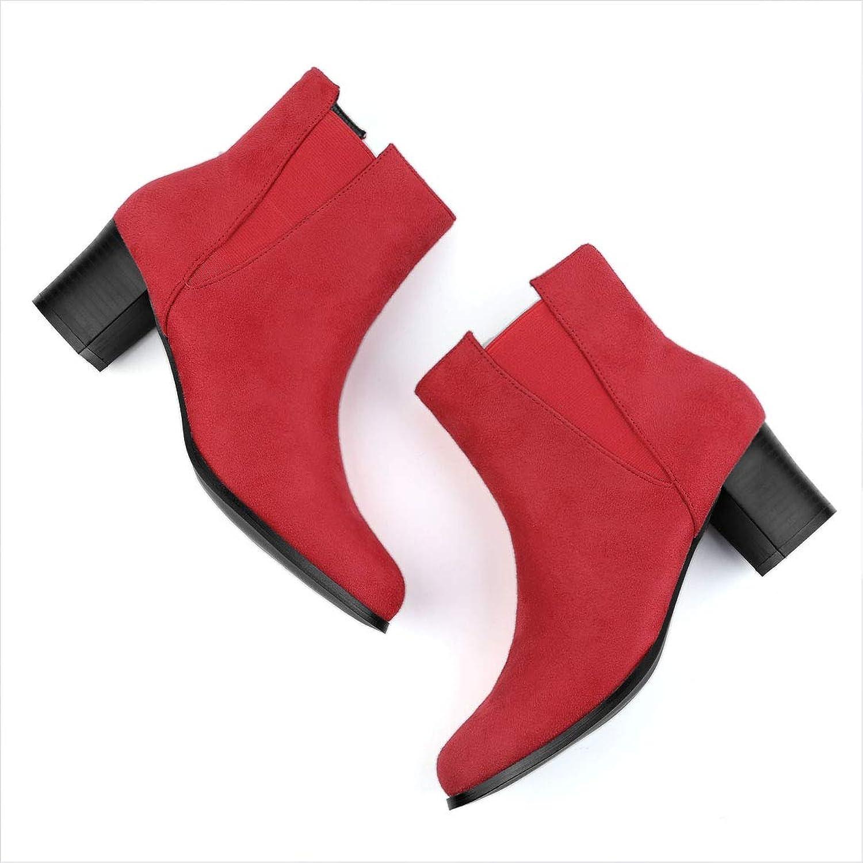 Allegra K Women's Round Toe Chunky Heel Ankle Chelsea Boots