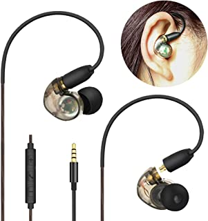 Daioolor EP187 Gray Musician Earbuds Compatible Shure Bose 1More in Ear Monitor Headphones with Mic and Volume Control