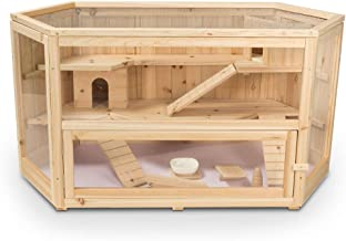 ALEKO WHC001 Deluxe Fir Wood 3-Tier Hamster Cage 44 x 24 x 23 Inches