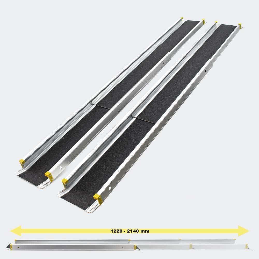 WilTec Rampas telescópicas de Aluminio Set 2X con Cobertura Antideslizante y Cantos elevados máx. 270 kg