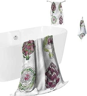 hengshu Artichoke Microfiber Bath Towel Sets Extra Large Vegetables Diet Food Quick Dry Towel Hand Towels
