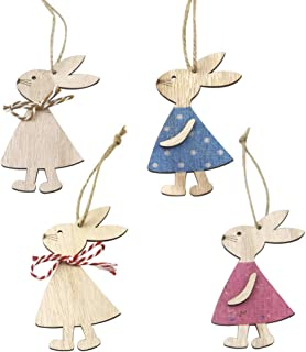 4 PCS Easter Wood Ornaments for Crafts,Bunny Shape Hanging Ornaments with Rope,DIY Wood Easter Hanging Decorations for Out...
