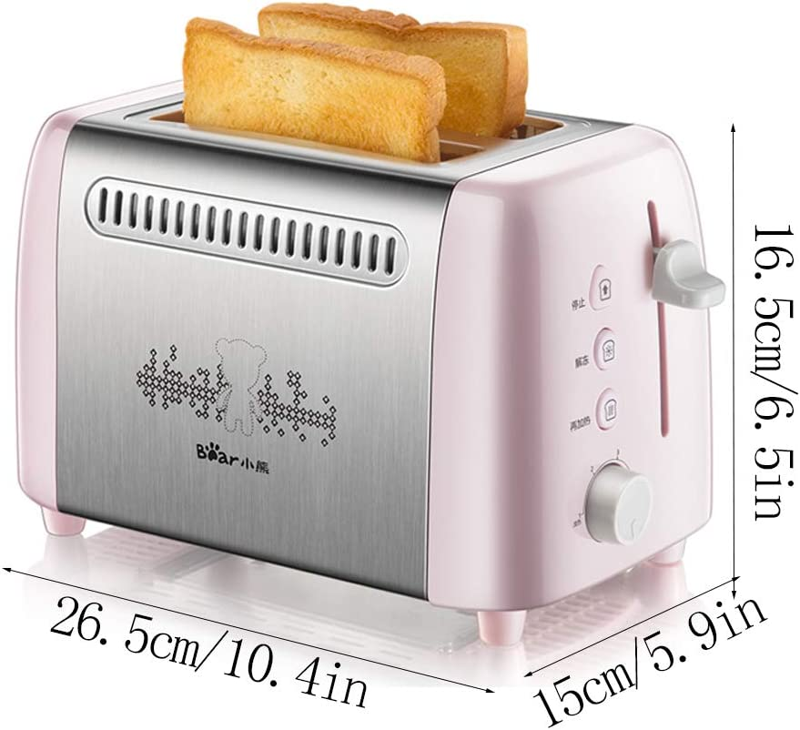 ZPF Grille-Pain 2 tranches, Grille-Pain Compact avec 6 réglages de brunissement Boîtier en Acier Inoxydable, Fonction d'annulation de dégivrage de Bagel Pink