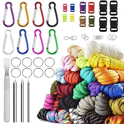 Paracord 550 - Juego de cuerdas de nailon con hebillas (26 colores, 16 tamaños diferentes)